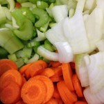 Basic French Mirepoix: Carrots, onions, celery.